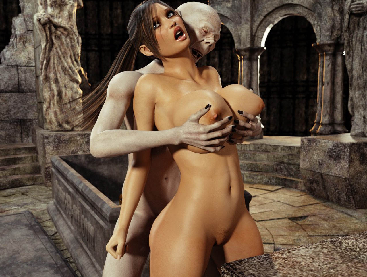 Hot Lara Croft Gets Boobs Pressed And Pussy Drilled Hard -9711